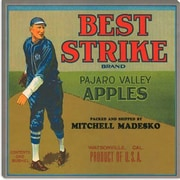 iCanvas Best Strike Brand Apples Vintage Crate Label Canvas Wall Art; 18'' H x 18'' W x 1.5'' D