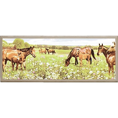Illumalite Designs Peaceful Horses Painting Print on Plaque