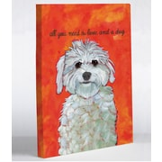 One Bella Casa Doggy Decor Love and A Dog Graphic Art on Canvas; 8'' x 10''