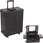 Sunrise Cases Professional Rolling Studio Makeup Train Case; Leather