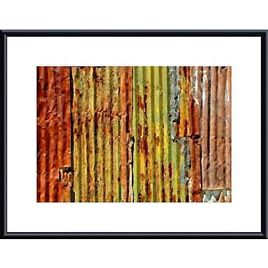 Printfinders Corrugated Metal Abstract by John K. Nakata Framed Photographic Print; Black