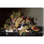 'Still Life w/ a Milk Glass Compote' by Severin Roesen Painting Print on Wrapped Canvas