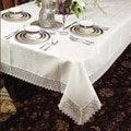 Violet Linen Treasure Lace Linen Look Tablecloth; 72  W x 162  D
