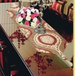 Violet Linen Milano Arts Damask Jacquard Design Table Runner; Brown