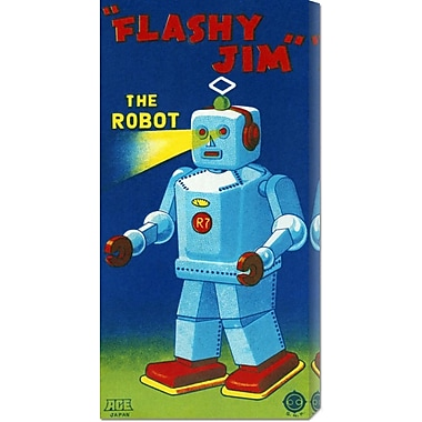 Global Gallery 'Flashy Jim - The Robot' by Retrobot Vintage Advertisement on Wrapped Canvas