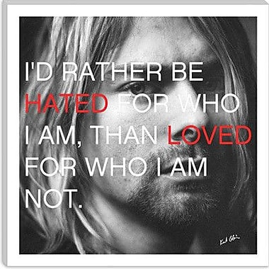 iCanvas Icons, Heroes and Legends Kurt Cobain Quote Photographic Print on Canvas