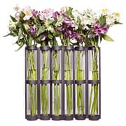 DanyaB Tall Six Tube Hinged Vase; Black