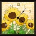 Green Leaf Art Sunflowers 16'' Art Wall Clock