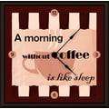 Green Leaf Art Morning Coffee 11'' Art Wall Clock