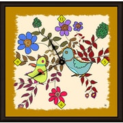 Green Leaf Art Birds in Spring 16'' Art Wall Clock