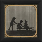 The Artwork Factory Children Sledding Framed Graphic Art