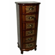 Cheungs Wooden Paisley Print 6 Drawer Cabinet