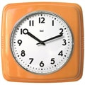 Bai Design Cubist Retro Modern Wall Clock; Orange