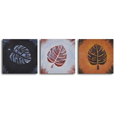 My Art Outlet 'Leaf Rubbing Trio' 3 Piece Original Painting on Wrapped Canvas Set