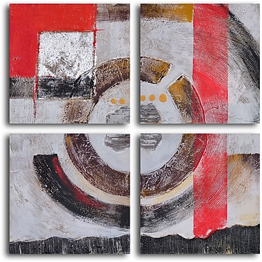 My Art Outlet ''Four Panel Loop'' 4 Piece Original Painting on Wrapped Canvas Set