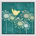 Green Leaf Art Birds and Flowers 20'' Art Wall Clock