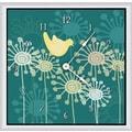Green Leaf Art Birds and Flowers 16'' Art Wall Clock