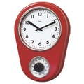 Bai Design 8.5'' Kitchen Timer Retro Modern Wall Clock; Red