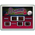 Team Sports America MLB Scoreboard Thermometer Wall Clock; Atlanta Braves