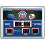 Team Sports America MLB ScoreBoard Wall Clock with Thermometer; Chicago Cubs