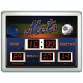 Team Sports America MLB Scoreboard Thermometer Wall Clock; New York Mets
