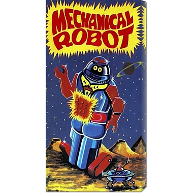 Global Gallery 'Mechanical Robot' by Retrobot Vintage Advertisement on Wrapped Canvas