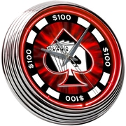 On The Edge Marketing Poker Chip 14.75'' Neon Wall Clock