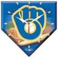 Wincraft MLB High Def Plaque Wall Clock; Milwaukee Brewers Retro