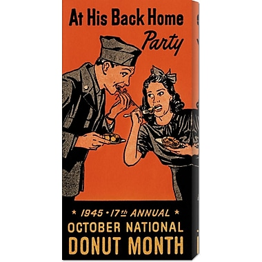 Global Gallery 'At His Back Home Party' by Retrolabel Vintage Advertisement on Wrapped Canvas