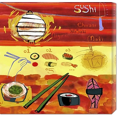 Global Gallery 'Types of Sushi' by Anonymous Painting Print on Wrapped Canvas