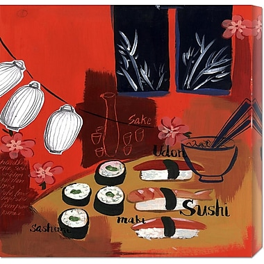 Global Gallery 'Sushi Lanterns' by Krista Johnson Painting Print on Wrapped Canvas