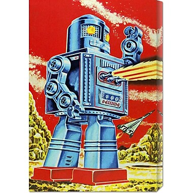 Global Gallery 'Robo - Movido a Pilhas' by Retrobot Vintage Advertisement on Wrapped Canvas