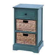 Woodland Imports Cabinet with 2 Wicker Baskets; Blue