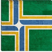 iCanvas Portland Flag, Map Graphic Art on Canvas; 18'' H x 18'' W x 0.75'' D
