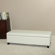 Home Loft Concept Bailey Bonded Leather Storage Ottoman Bench; White