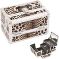 Just Case Cosmetic Makeup Train Case; Brown Leopard