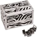 Just Case Cosmetic Makeup Train Case; White Zebra