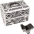 Just Case Zebra Pattern Professional Cosmetic Makeup Train Case with Brush Holder