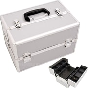 Just Case Professional Cosmetic Train Case; Silver