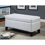 Modus Urban Seating Leatherette Bedroom Storage Ottoman; White
