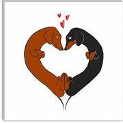 iCanvas Dachshund Heart Card by Brian Rubenacker Graphic Art on Canvas; 12'' H x 12'' W x 1.5'' D