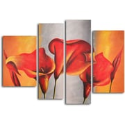 My Art Outlet Burnt Orange, Silver Lilies 4 Piece Original Painting on Wrapped Canvas Set