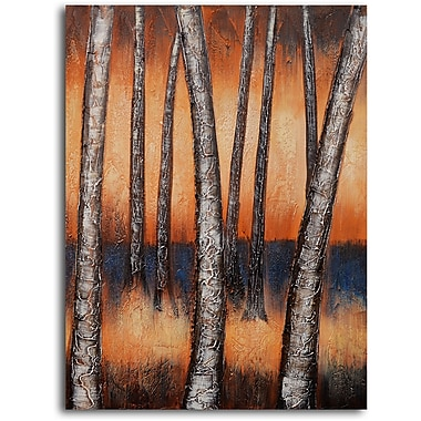 My Art Outlet 'Metallic Tree Trunk' Painting Print on Wrapped Canvas