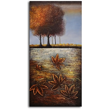 My Art Outlet 'Golden Maple Leaves' Painting Print on Wrapped Canvas