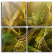 My Art Outlet Modern Tropicals 4 Piece Original Painting Plaque Set