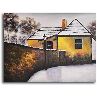 My Art Outlet 'House on the Corner' Painting Print on Wrapped Canvas