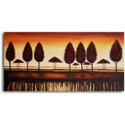 My Art Outlet 'Bronze Tree-Lined Horizon' Original Painting on Wrapped Canvas
