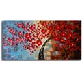 My Art Outlet 'Bouquet of Textured Red' Original Painting on Canvas