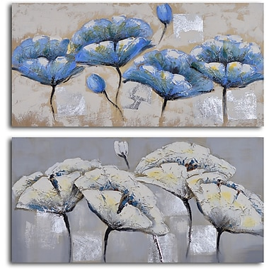My Art Outlet 'Blue White Poppy Quartet' 2 Piece Original Painting on Wrapped Canvas Set