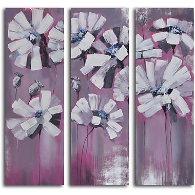 My Art Outlet 'Snowy Petals on Pink' 3 Piece Original Painting on Wrapped Canvas Set